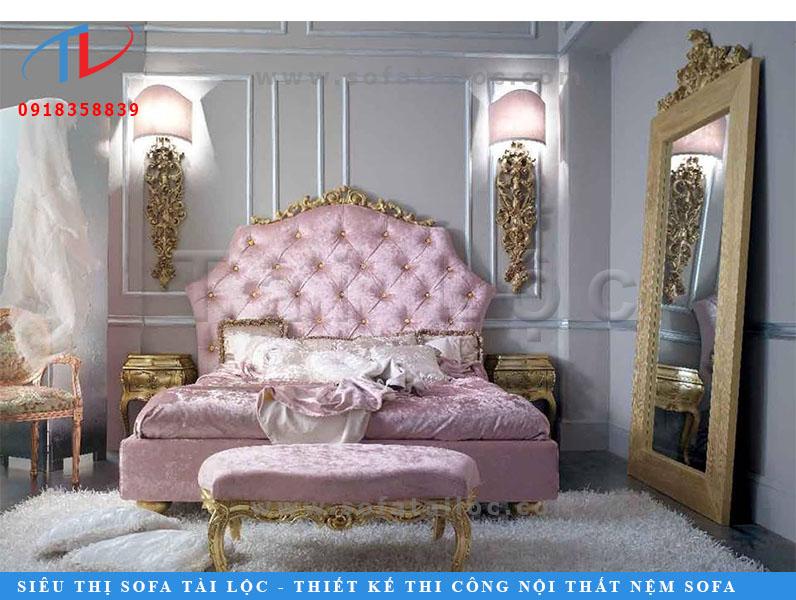 Nệm đầu giường cổ điển màu hồng