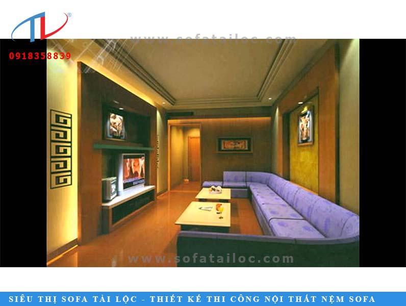 Mẫu ghế karaoke đẹp, chất lượng màu tím được phối trong không gian màu vàng đem lại cảm giác khá mới.