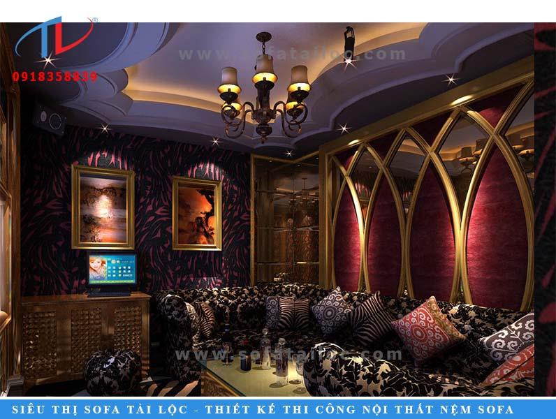 Mẫu ghế sofa cho phòng karaoke được thiết kế theo phong cách quý tộc.