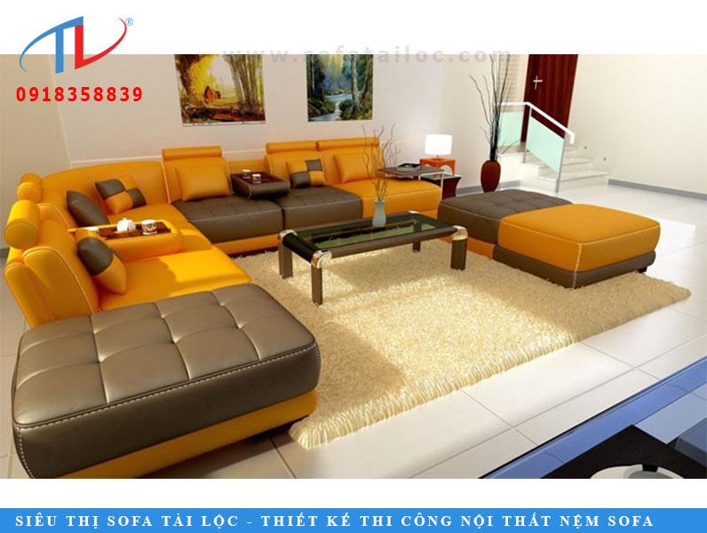 Bộ sofa hình chữ N màu cam và màu nâu này có thể là người có trái tim của bất kỳ ngôi nhà nào ở Delhi. Mức độ thoải mái đã được chăm sóc, với những cái đầu vòng quanh Chiều dài tay vịn đã được cung cấp cho các chức năng tăng lên. Hai màu sắc được sử dụng tuyệt đẹp để cho nó một cái nhìn dễ thương nhưng phong cách. Đôi màu Ottoman thêm vào quy hoạch không gian tổng thể của căn phòng.