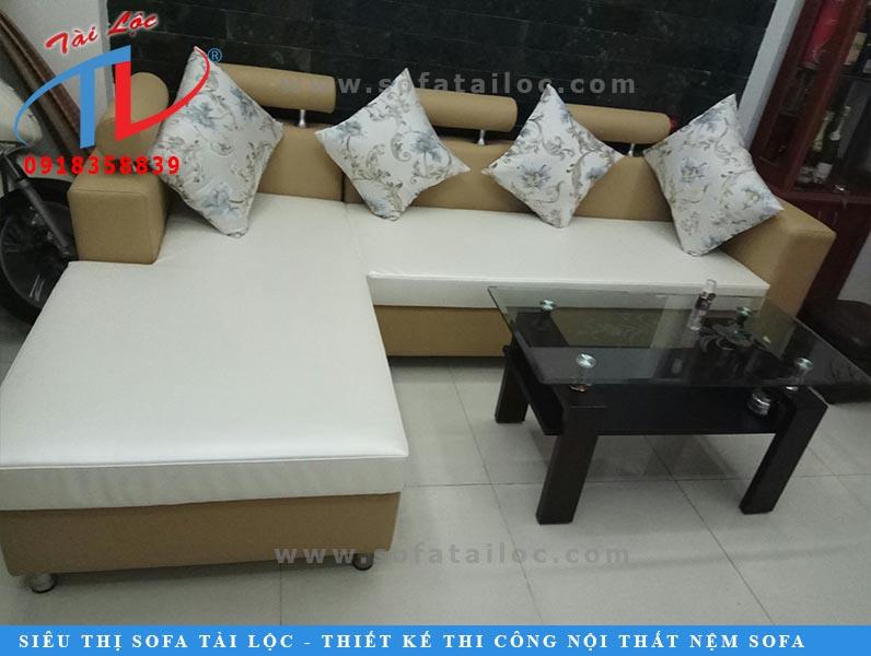 Mẫu ghế sofa phòng khách sau khi khách hàng đặt dịch vụ bọc ghế sofa Gò Vấp chất lượng theo yêu cầu.