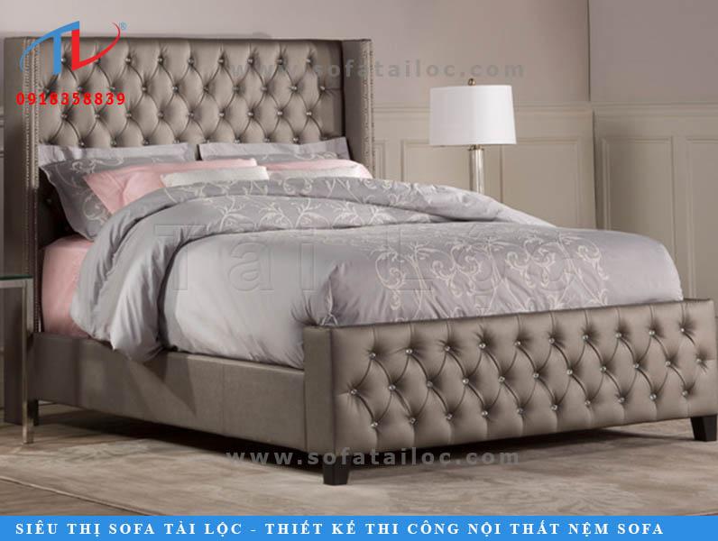 Mẫu giường đẹp bọc nệm cao cấp được bọc vải full phần khung giường.