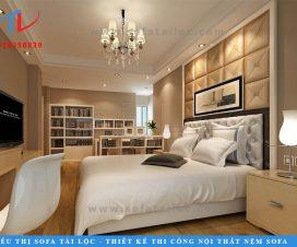 Vách đầu giường bọc da là xu hướng trang trí bức tường đầu giường ngủ mới được áp dụng trong vài năm gần đây. Đây là loại ốp vách khá mới mẻ nhưng công năng sử dụng lại rất cao.