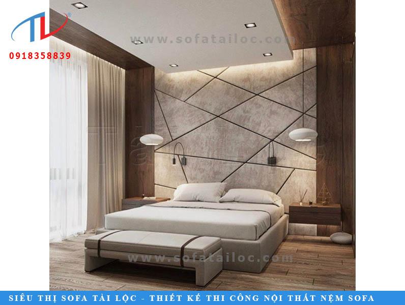 Trang trí tường đầu giường bằng vách ốp tường bọc nệm mẫu độc đáo