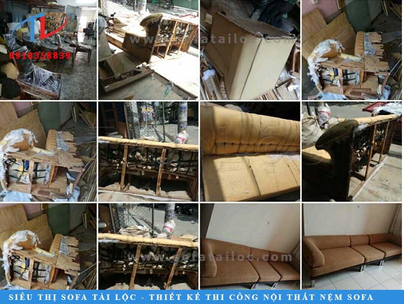 Hình ảnh ghế sofa kém chất lượng trước khi được khách hàng đặt Tài Lộc bọc lại. Mẫu ghế này khách hàng mua ở một showroom lớn với giá trị hơn 22 triệu. Nhưng ghế nhanh xuống cấp, khi Tài Lộc tháo toàn bộ lớp da cũ ra thì phần khung nát bét lộ ra. Khung ghế làm ván cực mỏng, đóng bằng gỗ tạp và nhét vải vụn trông rất kém vệ sinh. Từ mouse đến mọi thứ bên trong toàn hàng đểu. Với những mẫu ghế như thế này khi đặt bọc lại cần phải tìm một nơi có uy tín. Nếu không thì họ cũng chỉ sửa qua loa bên ngoài và bạn lại phải tiếp tục sử dụng một bộ ghế kém chất lượng.