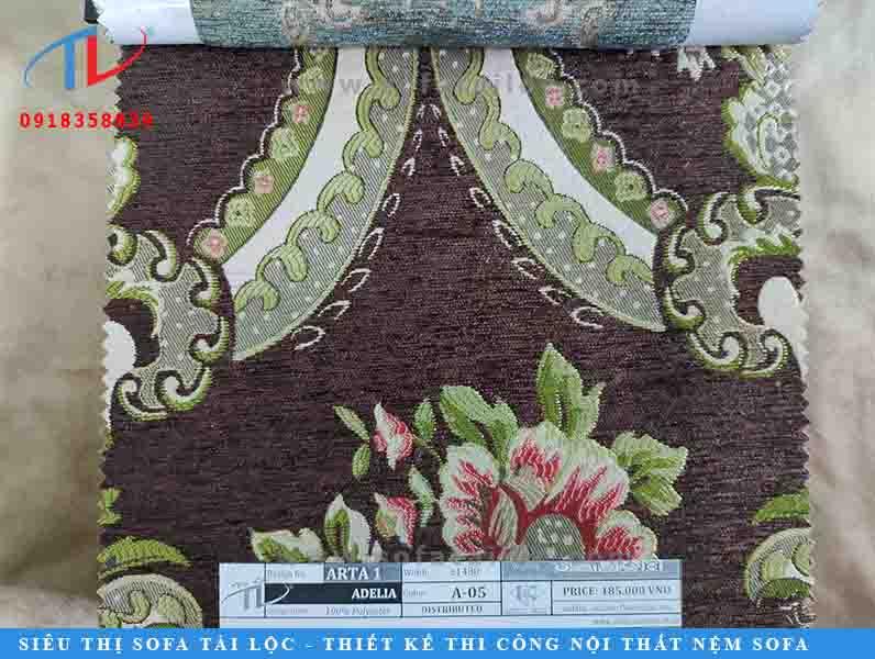 Mẫu vải hoa văn cổ điển đẹp Adelia mang phong cách cổ điển với những cánh hoa và chiếc là được thêu dệt vô cùng cầu kỳ và sang trọng