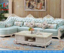 Sofa nhập khẩu phòng khách với những chi tiết tinh xảo. Một bộ thường đi kèm bàn với màu sắc tao nhã giúp không gian thêm sang trọng.