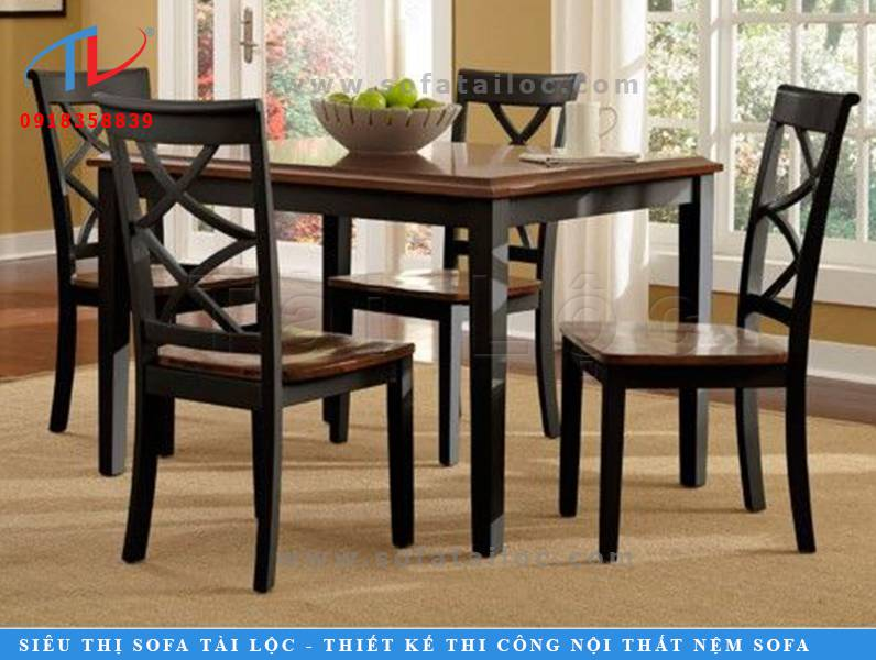 Kiểu ghế phòng ăn quán cafe hiện đại CF14 và sang trọng với màu gỗ nâu đen cuốn hút.