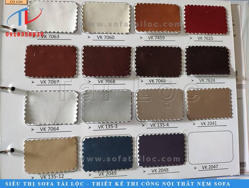 Các tập mẫu da công nghiệp loại 1 bọc ghế sofa có độ bền không kém gì da thật và nó có nhiều màu sắc đa dạng hơn để khách hàng có được những lựa chọn ưng ý nhất.