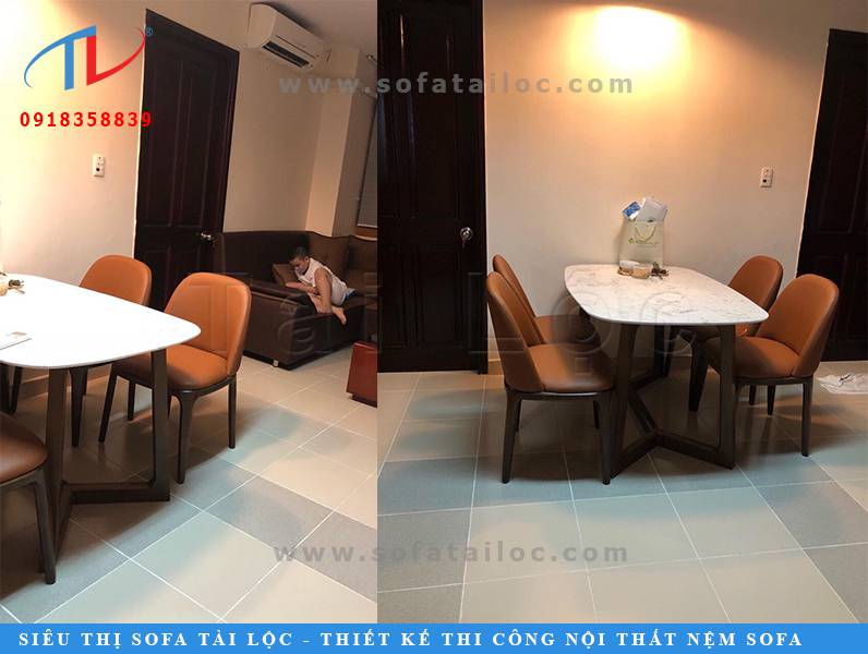 Màu sắc ấm áp của bộ bàn ghế quán ăn quán cafe, phòng ăn gia đình với màu nâu trầm kết hợp cùng ánh đèn mang đến sự ấm cúng, lãng mạn cho không gian.