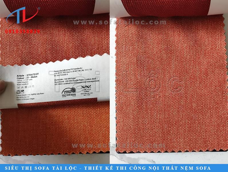 Mua vải sofa bỉ tại TPHCM? Tài Lộc chính là địa chỉ tin cậy nhất. Mẫu vải Bỉ màu cam đỏ đầy quyến rũ và cuốn hút.