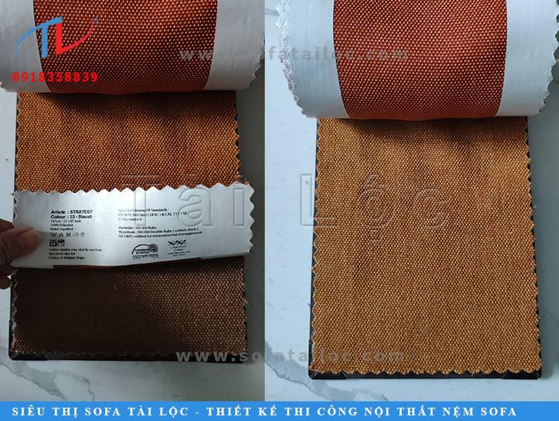 Tài Lộc chuyên nhập khẩu vải sofa sản xuất tại Bỉ. Mẫu vải Bỉ màu cam đất khá ấm cúng cũng rất được nhiều khách hàng yêu thích.