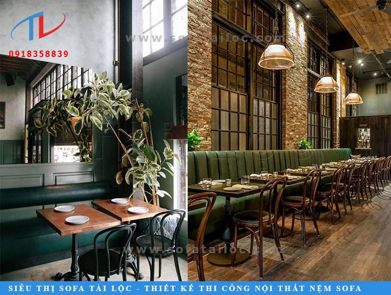 Mẫu sofa giá rẻ cho quán cafe SQCF16 và SQCF17 với tone màu xanh nền nã dịu mắt cho không gian thêm xinh