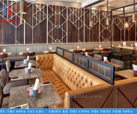Sofa quán cafe giá rẻ SQCF1 mang vẻ đẹp cổ điển quen thuộc với từng đường rút nút cầu kỳ. Mang đến một không gian vô cùng ấn tượng và sang trọng