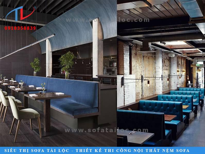 Mẫu sofa quán cafe giá rẻ SQCF18 và SQCF19 với tông màu xanh lam thanh mát và vô cùng dễ chịu