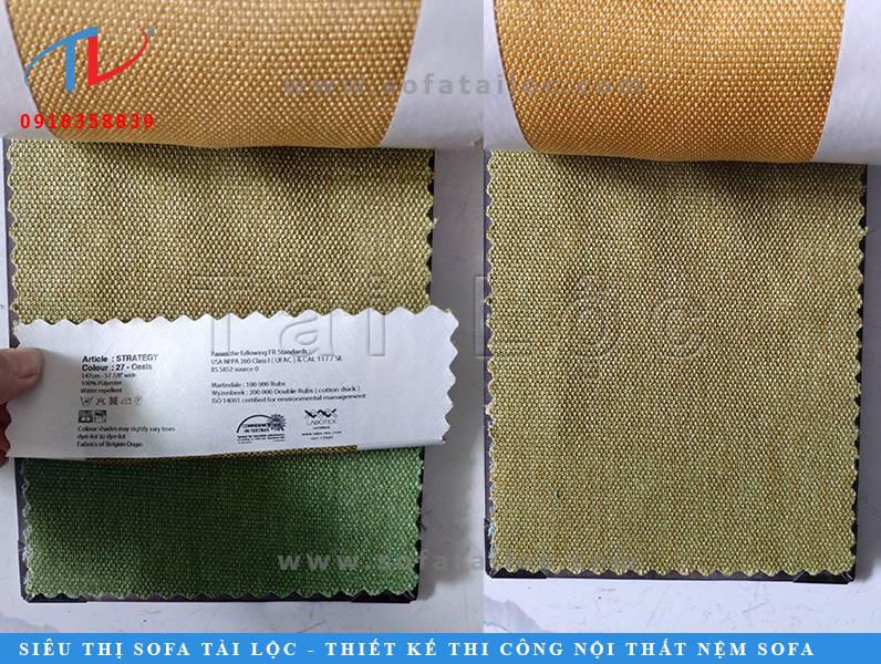 Mẫu vải Bỉ bọc ghế sofa đẹp mang màu xanh lá mạ nhạt cực kỳ lạ mắt