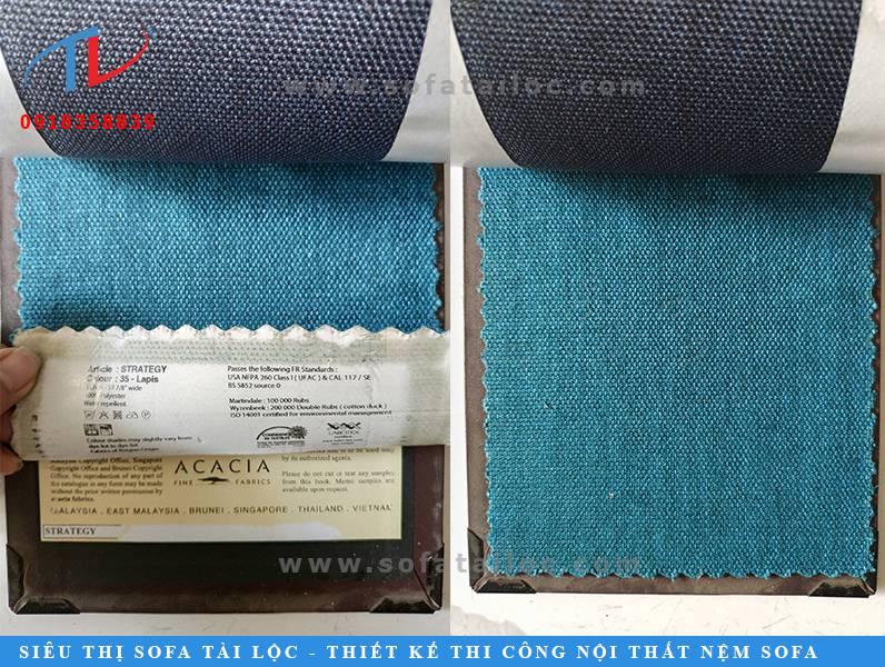 Mẫu vải Bỉ đẹp bọc ghế sofa mang màu xanh blue tao nhã và trẻ trung