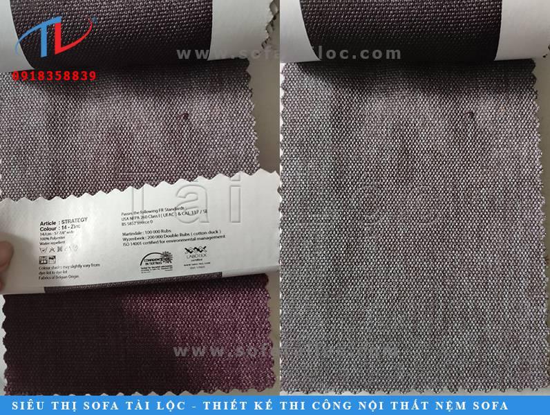 Mẫu vải Bỉ sofa mang màu xám tím tinh tế
