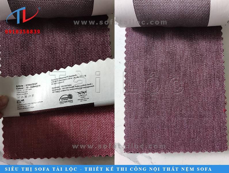 Mẫu vải Bỉ trùm ghế sofa mang màu tím tro thời thượng.