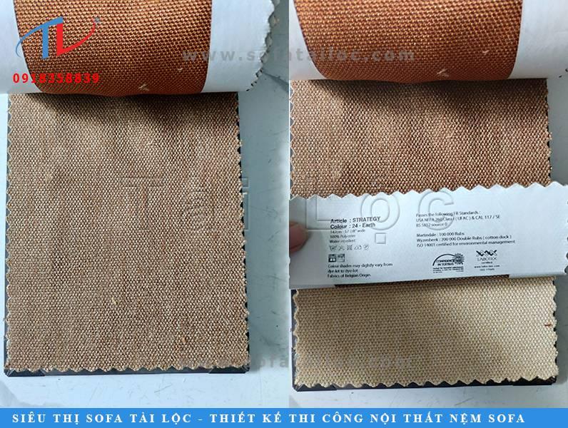 Mẫu vải nhập khẩu từ Bỉ may bọc ghế sofa với màu nau kem sang trọng.