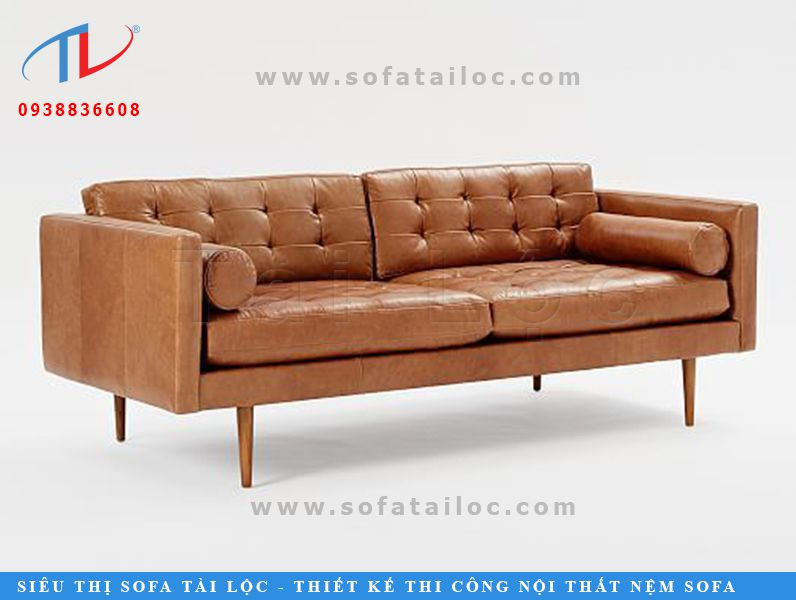 Bộ sofa da microfiber dạng băng 2 chỗ ngồi với phần thân rút nút đầy sang trọng, ấn tượng.