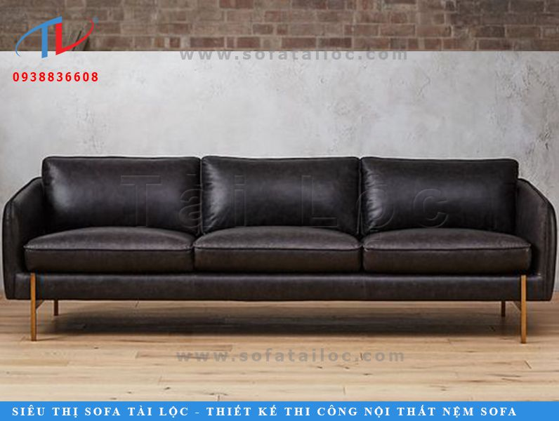 Mẫu ghế sofa da microfiber với gam màu đen thanh lịch thiết kế dạng văng 3 chỗ ngồi.