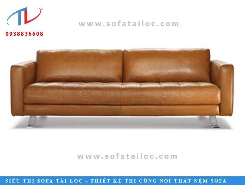 Mẫu sofa bọc da công nghiệp microfiber với thiết kế đơn giản, nhỏ gọn phù hợp khi đặt vào những không gian nhỏ hẹp