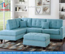 Sofa phòng khách chữ L với phần nệm rời sang trọng. Điểm nhấn là những đường rút nút tinh tế cho bộ sofa bớt đơn điệu.