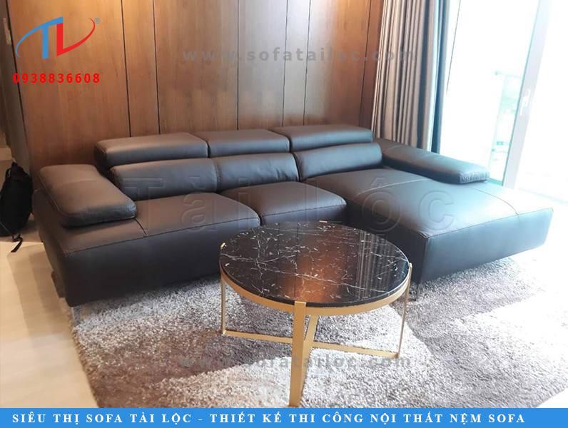 Mẫu ghế góc L bọc da sang trọng được làm từ xưởng sản xuất ghế sofa đẹp Tài Lộc.