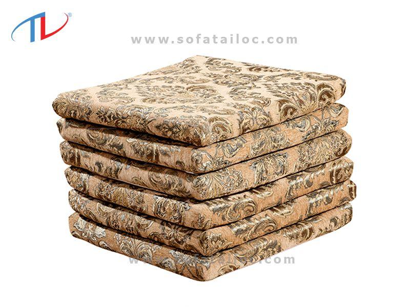 Nệm lót ghế sofa gỗ mẫu hoa văn sang trọng, thời thượng