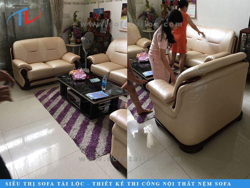 Khách hàng đã hoàn toàn bị thuyết phục với dịch vụ bọc ghế sofa cũ giá rẻ tại xưởng uy tín của Tài Lộc. Gia đình của chú H hoàn toàn bất ngờ trước diện mạo mới của bộ ghế.