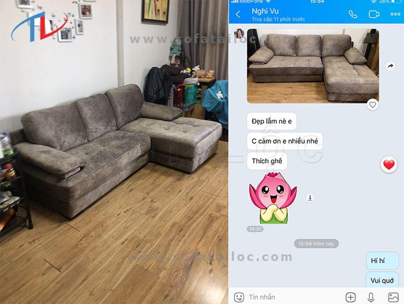 Review bọc ghế sofa nỉ tại nhà chị Nghi Vũ