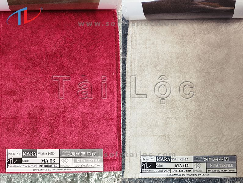 Mẫu nhung cao cấp 03 với gam màu đỏ tươi cực đẹp phối cùng gam màu kem tinh tế từ mã 04 cũng được coi là kết hợp điển hình và hoàn hảo